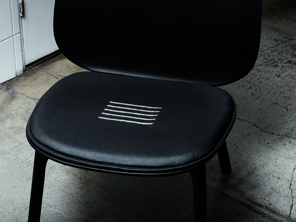 Unna Lounge chair for Zanat - Exhibiting Beyond Black at JUS Store, Brunnsgatan 7, Stockholm