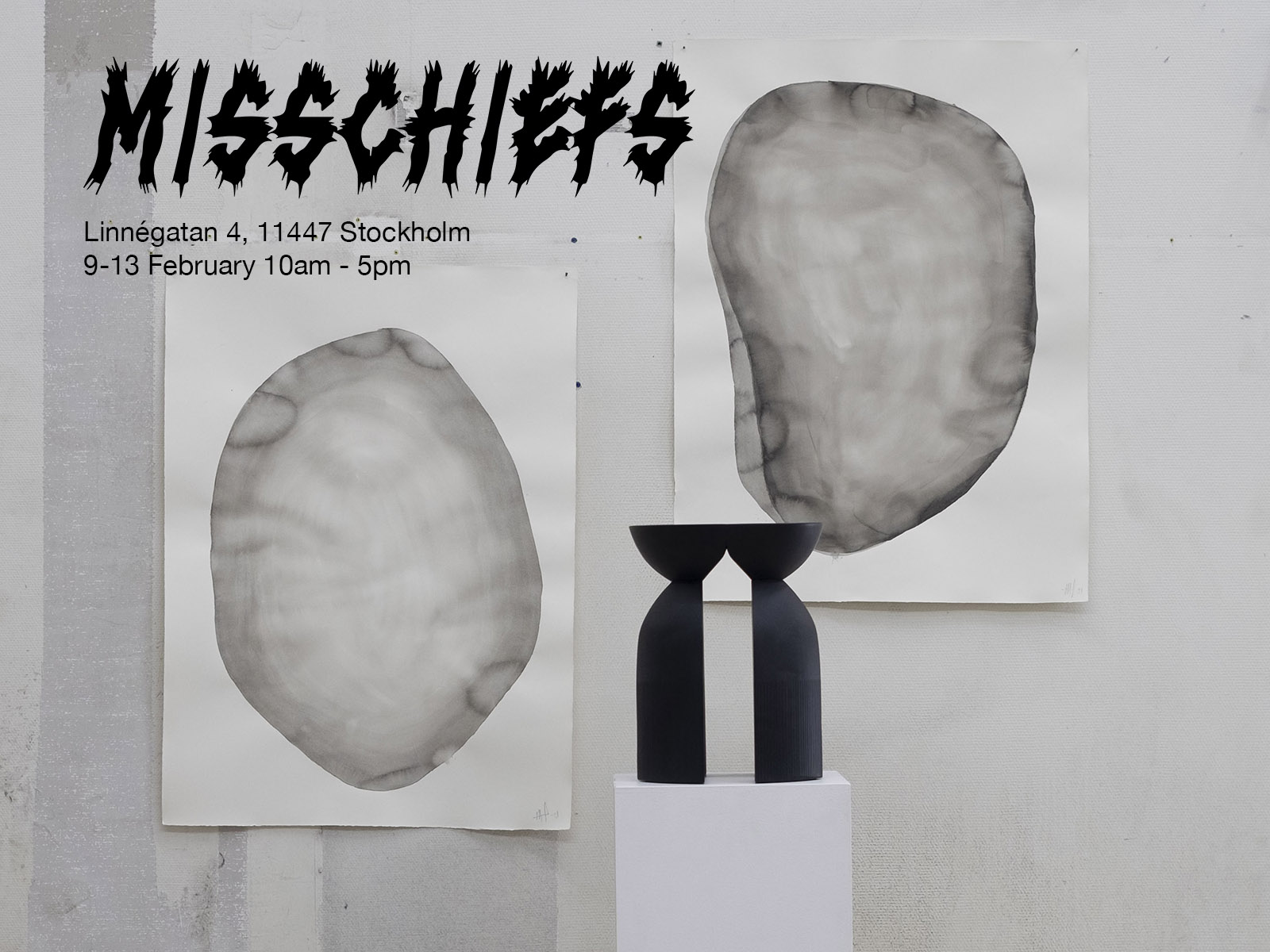 Misschiefs Exhibition Stockholm Design Week - Showing the first prototype of the newly released Unity Stool and ink inspiration paintings